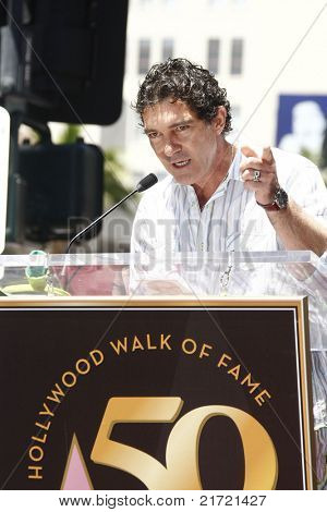 LOS ANGELES - MAY 20: Antonio Banderas at a ceremony where Shrek receives a star on the Hollywood Walk of Fame, Los Angeles, California on May 20, 2010