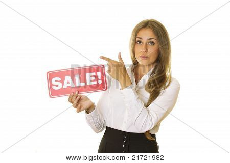 Businesswoman Holding Sale Card