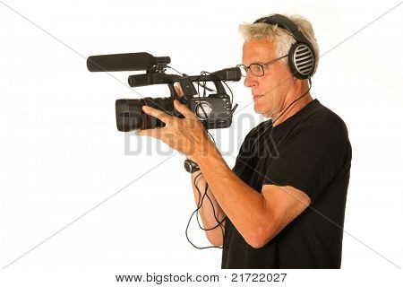 Professional video camera and elderly camera man on white background