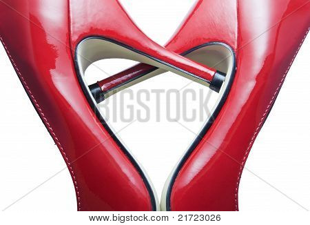 red shoes forming a heart