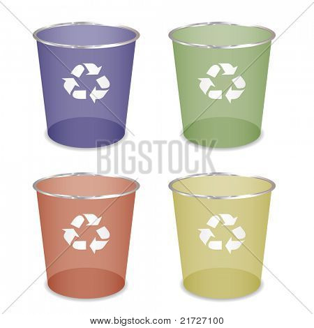 Brightly coloured recycle trash or waste bin