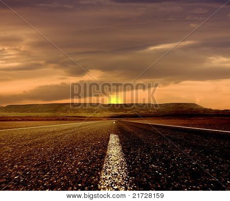 The road ahead and the sunset clouds