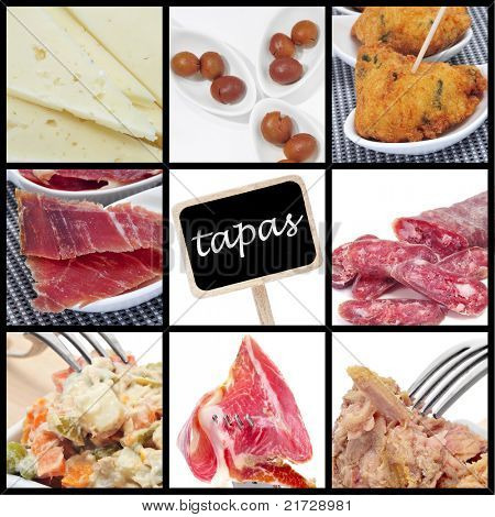 a collage of nine pictures of different spanish tapas