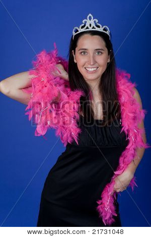 Bachelorette with feather boa and tiara