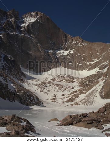 Longs Peak From Chasm Lake In Winter