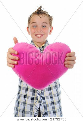 boy gives a heart