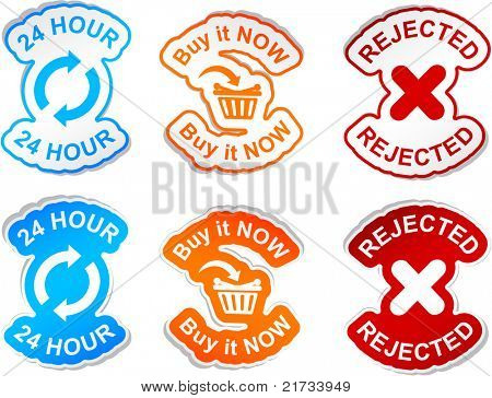"""24 Hour"", ""buy it now"", ""rejected""  vector stickers."