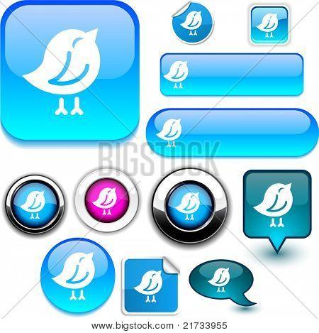 Bird vector glossy icons.