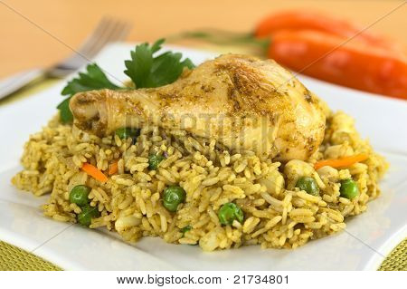 Peruvian Dish Called Arroz con Pollo