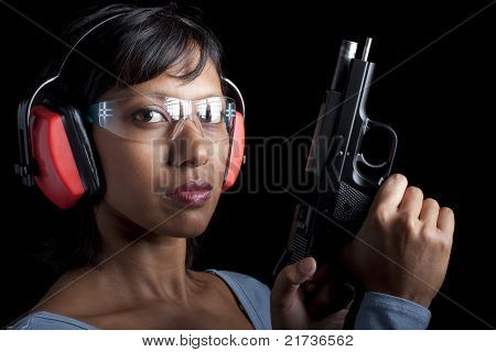 Woman at gun range