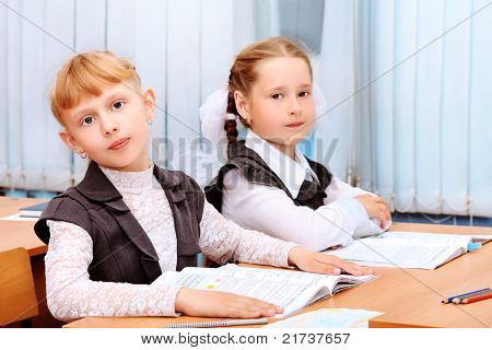 Portrait of a schoolgirls in a classroom.