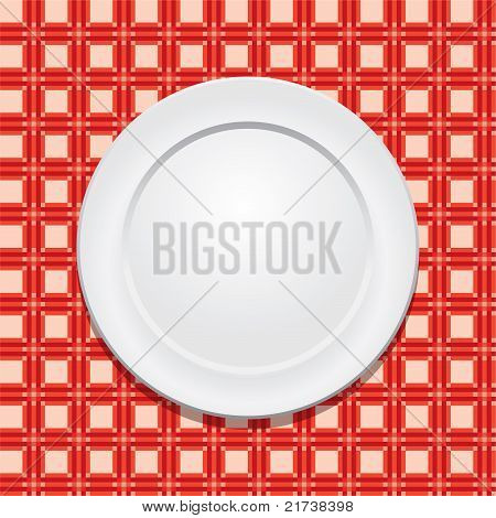Vector Picnic Tablecloth And Empty Plate
