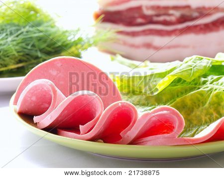 Sliced sausages
