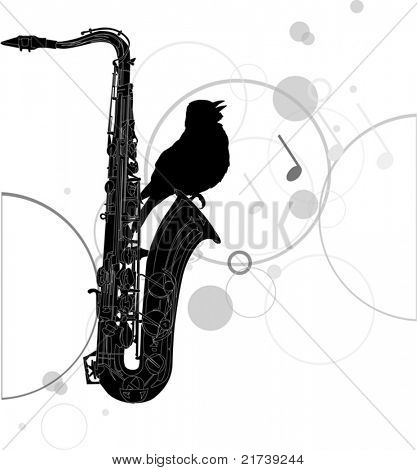 illustration with black saxophone and bird