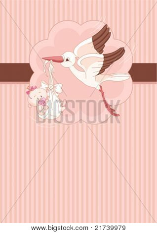 A place card of a stork delivering a newborn baby girl