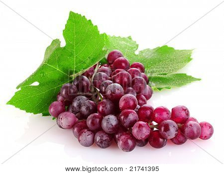 Pink grape isolated on white