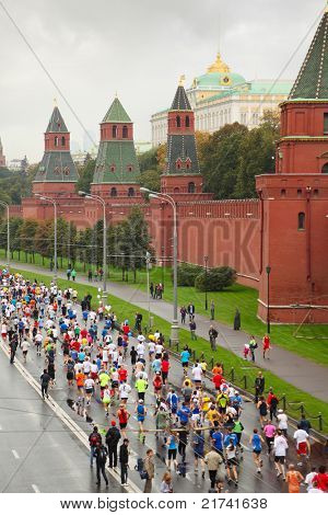 MOSCOW, RUSSIA - SEPTEMBER 12: Top view of running people on Kremlin embankment in XXX Moscow International Peace Marathon on September 12, 2010 in Moscow, Russia. It is annual festival of racing.