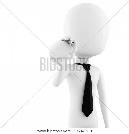 3d man - business man holding a pen isolated on white background