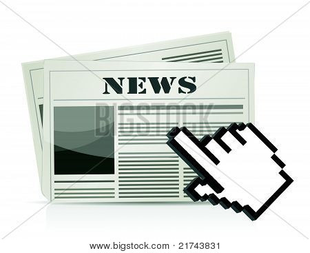 online news cursor concept illustration design
