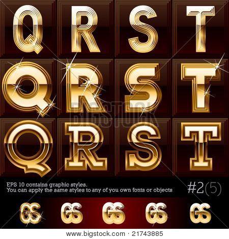 Extra schuine gouden lettertype plus afbeeldingsstijlen. #2 Instellen Bestand bevat grafische stijlen beschikbaar in de I