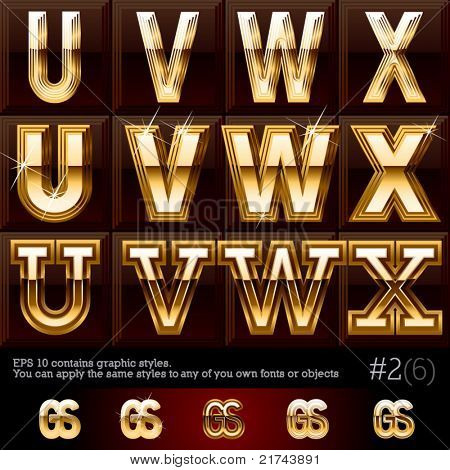 Extra beveled gold font plus graphic styles. Set #2. File contains graphic styles available in the Illustrator 10 + You can apply the styles to any of you own fonts or objects
