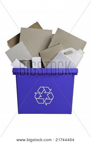 Full recycling blue bin