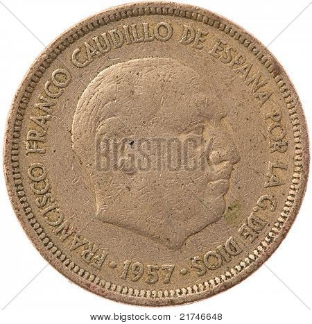 "5 ""pesetas"" spanish coin isolated on white"