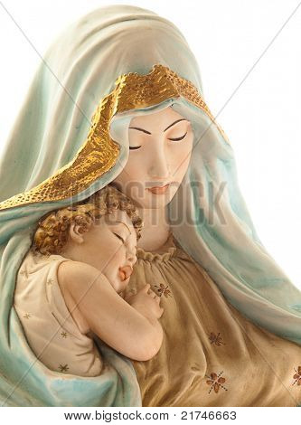 virgin with jesus on white background