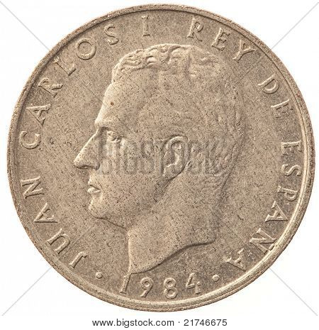 "2 ""pesetas"" coin on white background"