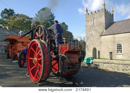 Steam Engine In Village Square