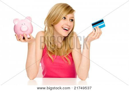 Piggy bank or credit card