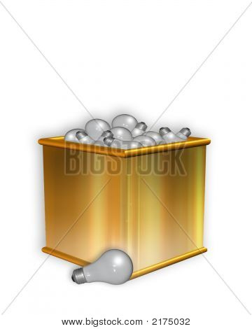 3D Bright Idea Golden Box Of Light Bulbs