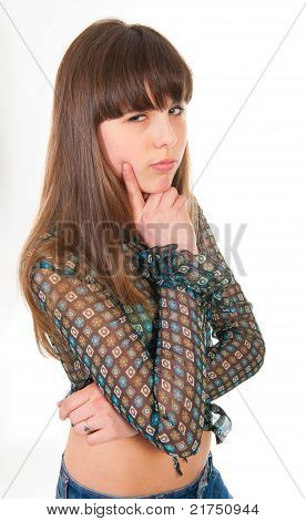 Portrait Of Teen Girl Isolated