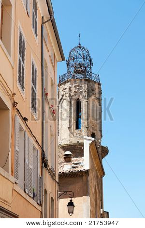 ancient church tower in the French city Aix-en-Provence