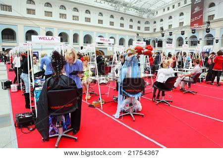 MOSCOW - OCTOBER 2: Make-up artists make body art at XVII International Festival