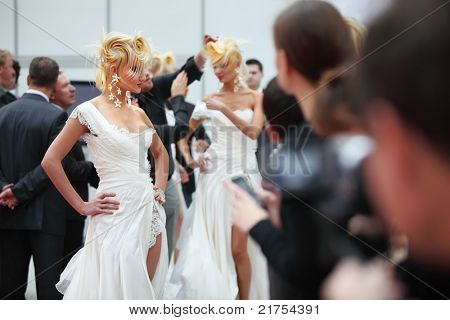 MOSCOW - OCTOBER 2: Model with fanciful hairstyle at XVII International Festival