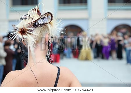 MOSCOW - OCTOBER 2: Back of woman with beautiful hairdo at XVII International Festival