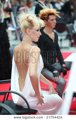 MOSCOW - OCTOBER 2: Back of woman with unusual hairstyle at XVII International Festival