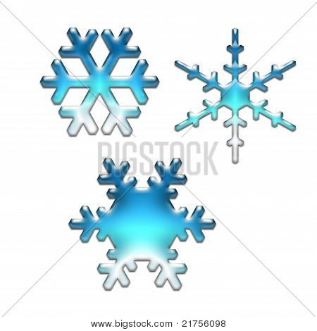 Blue Glass Snowflakes