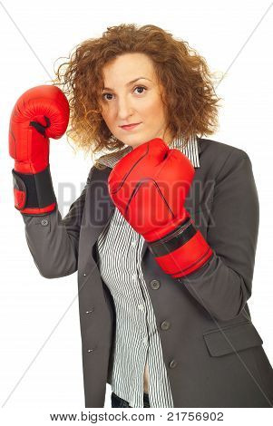 Upset Executive Woman With Boxing Gloves