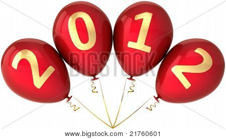 2012 party balloons New Year red decoration in a bunch