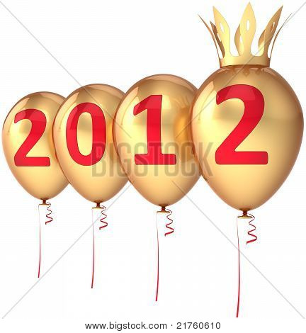 2012 New Year golden balloons party decoration with crown