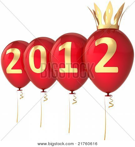 2012 New Year balloons party decoration with golden crown