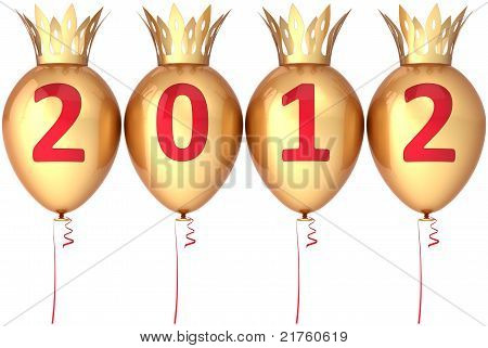 New 2012 Year party balloons golden decorated with crowns