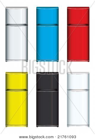 Collection of brightly coloured modern fridges