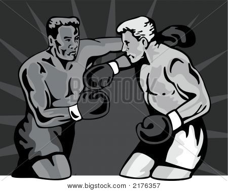 Boxer About To Deliver An Upper Cut