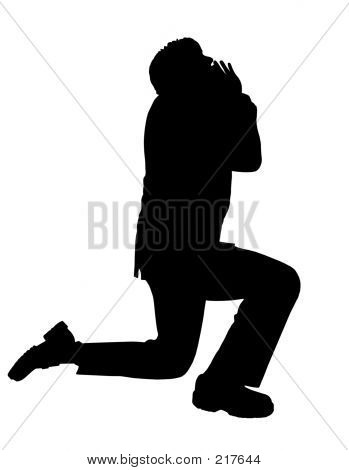 Business Man Praying Silhouette
