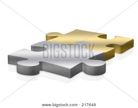 Gold And Silver Puzzle Pieces Over White