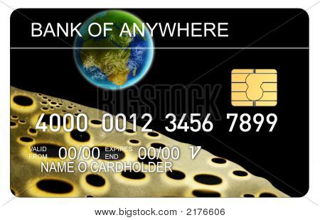 Credit Card With Earth And Moon