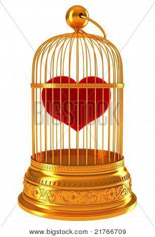 Imprisoned Love: Red Heart In Golden Cage